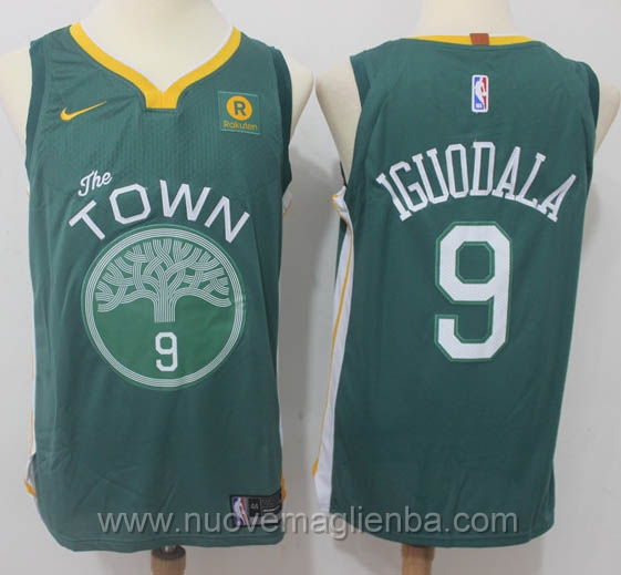 nuove maglie NBA per nike verde Golden State Warriors Throwback Swingman Andre Iguodala