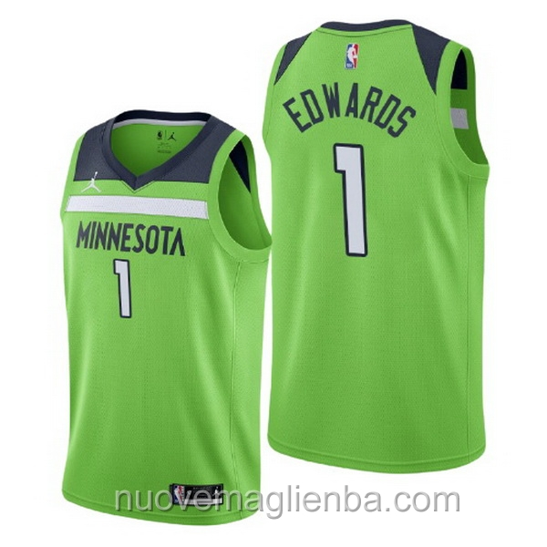 nuove maglie NBA per nike verde Minnesota Timberwolves Anthony Edwards Statement
