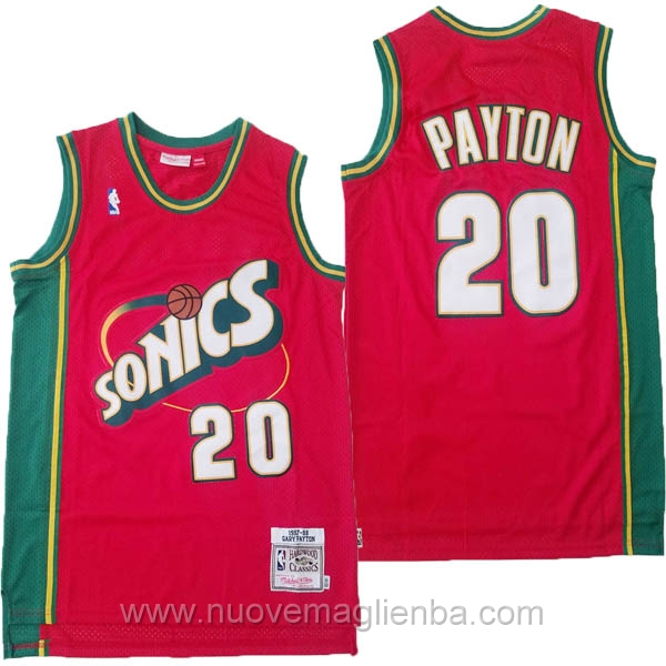 nuove maglie NBA per rosso Seattle SuperSonics Gary Payton