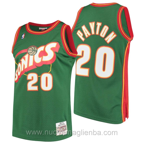 nuove maglie NBA per verde Seattle SuperSonics Gary Payton