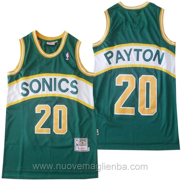 nuove maglie NBA per verde Seattle SuperSonics Gary Payton Hardwood Classics