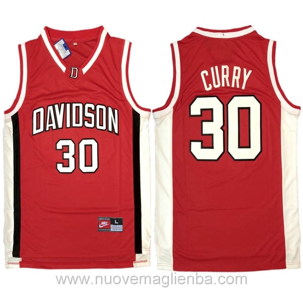 nuove maglie NCAA rosso Davidson-Stephen Curry