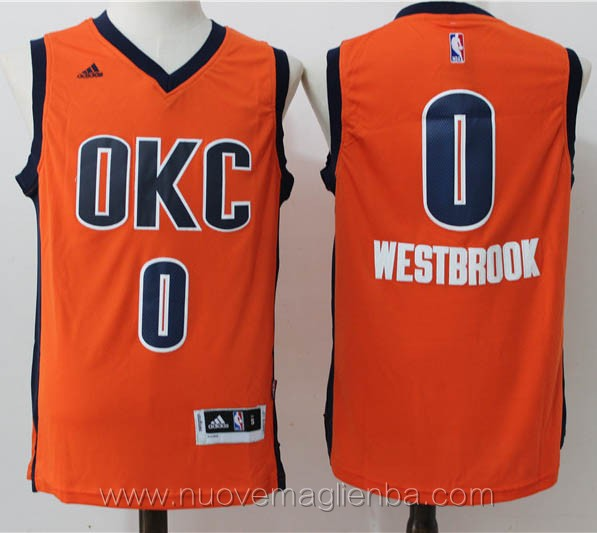 nuove maglie basket nba arancione Russell Westbrook Oklahoma City Thunder Stagione 2015-16