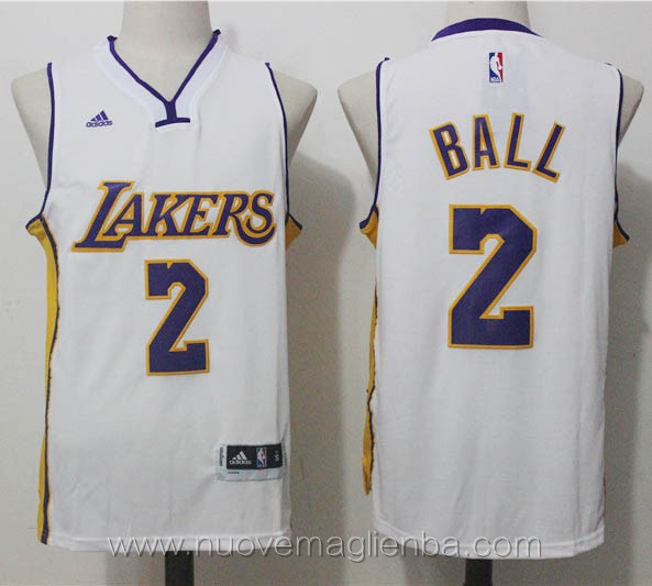 nuove maglie basket nba bianco Lonzo Ball Los Angeles Lakers