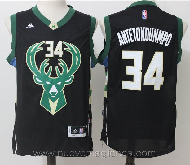 nuove maglie basket nba nero Giannis Antetokounmpo Milwaukee Bucks