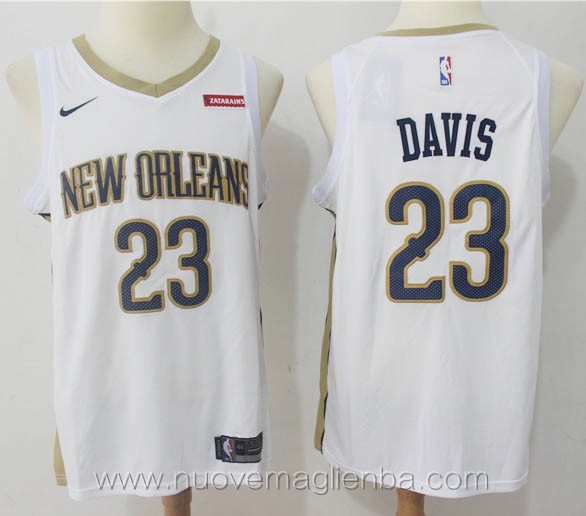 nuove maglie nba per nike bianco Anthony Davis New Orleans Pelicans versione fan