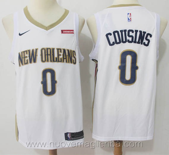 nuove maglie nba per nike bianco DeMarcus Cousins New Orleans Pelicans versione fan