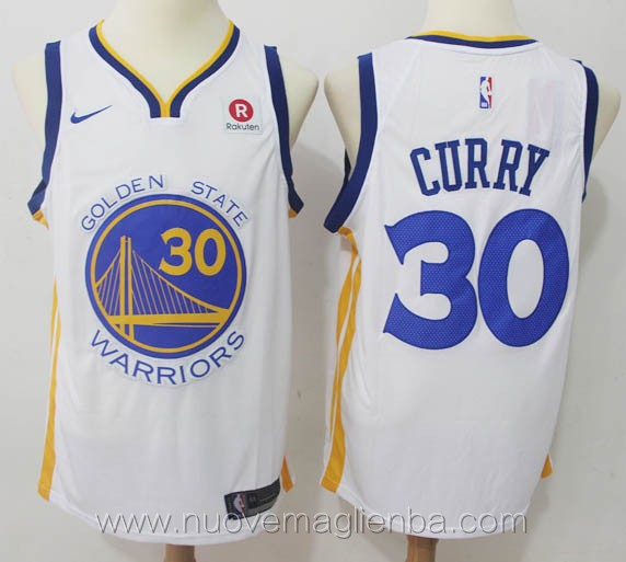 nuove maglie nba per nike bianco Stephen Curry Golden State Warriors versione fan