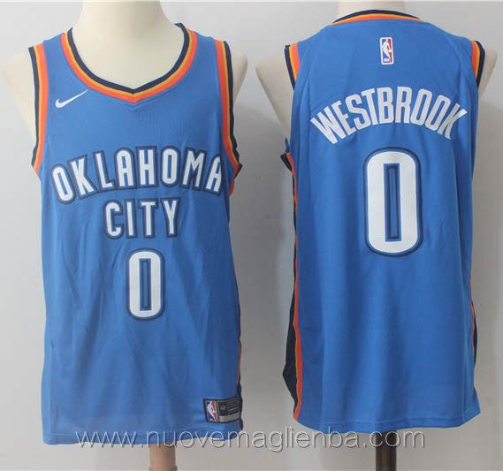 nuove maglie nba per nike blu Russell Westbrook Oklahoma City Thunder versione giocatore