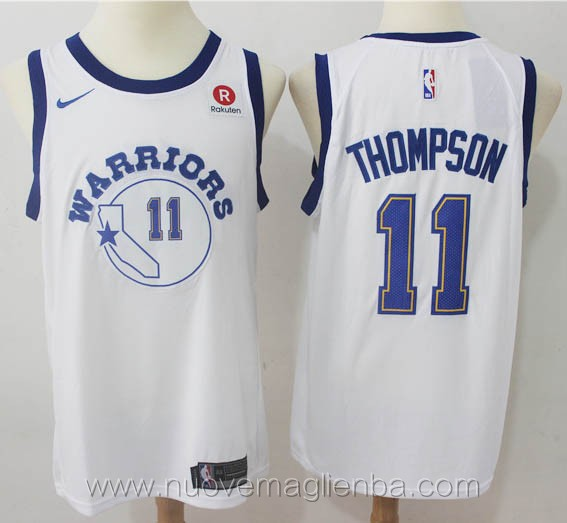 nuove maglie nba per nike retro bianco Klay Thompson Golden State Warriors versione fan