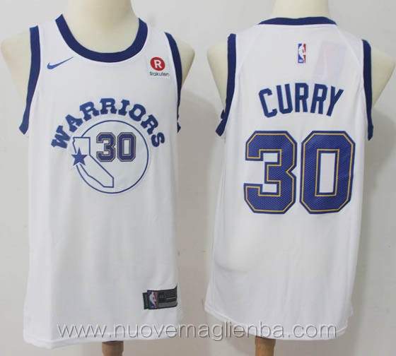 nuove maglie nba per nike retro bianco Stephen Curry Golden State Warriors versione fan