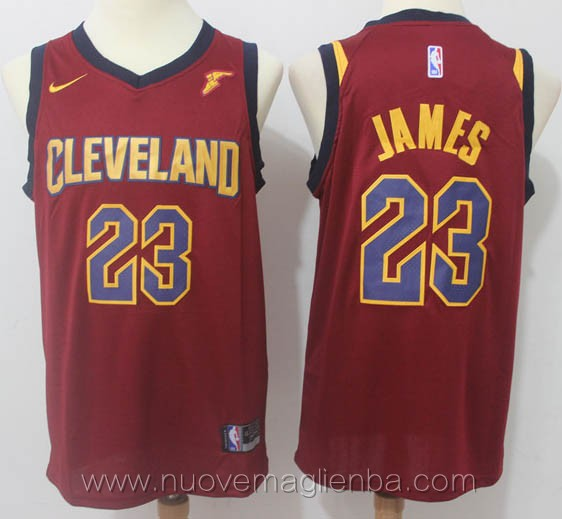 nuove maglie nba per nike rosso LeBron James Cleveland Cavaliers versione fan