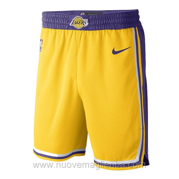 pantaloncini nba poco prezzo Giallo d'epoca Los Angeles Lakers