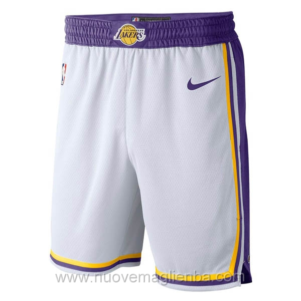 pantaloncini nba poco prezzo Retro bianco Los Angeles Lakers