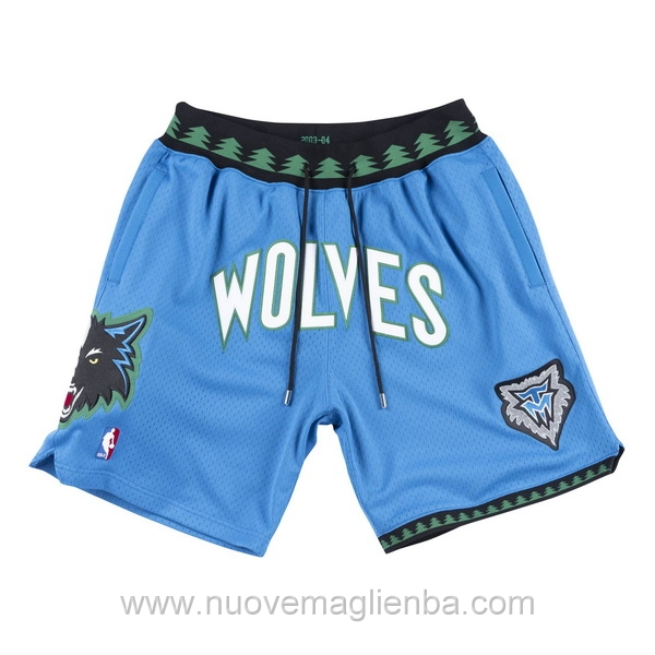 pantaloncini nba poco prezzo retro blu Minnesota Timberwolves JUST DON