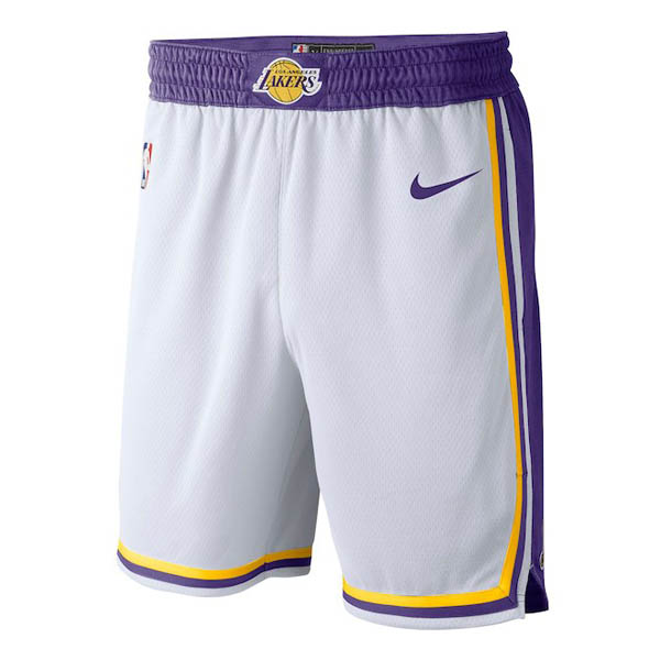 pantaloncini nba poco prezzo bianco Los Angeles Lakers Retro 2018-19