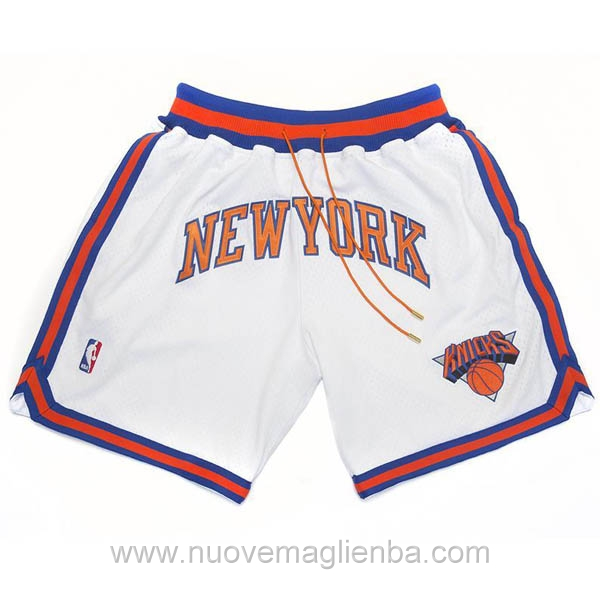 pantaloncini nba poco prezzo bianco Retro New York Knicks Just Don