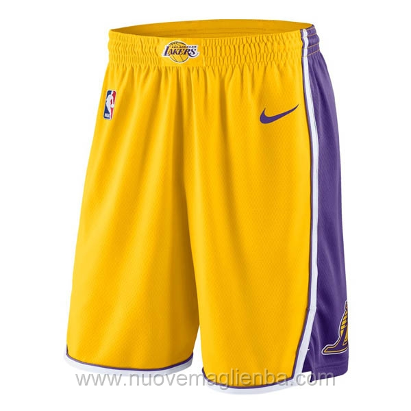 pantaloncini nba poco prezzo giallo Los Angeles Lakers