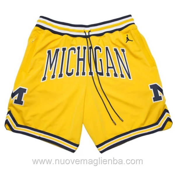 pantaloncini nba poco prezzo giallo Michigan Just Don