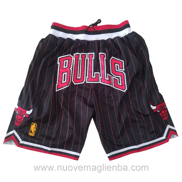 pantaloncini nba poco prezzo nero Retro Chicago Bulls Just Don