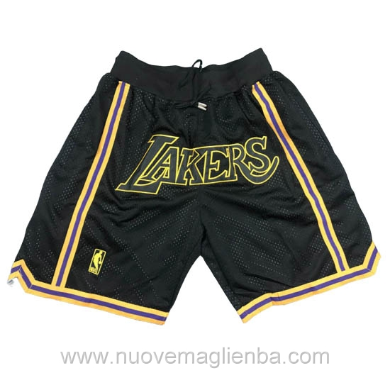 pantaloncini nba poco prezzo tasca nero Los Angeles Lakers